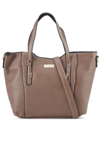 Unisa brown Debossed Convertible Top Handle Bag D6B34AC7FE5236GS_1