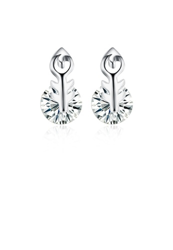 Glamorousky white 925 Sterling Silver Elegant Romantic Cupid's Arrow Earrings and Ear Studs with Cubic Zircon 0DE70ACB29AC98GS_1