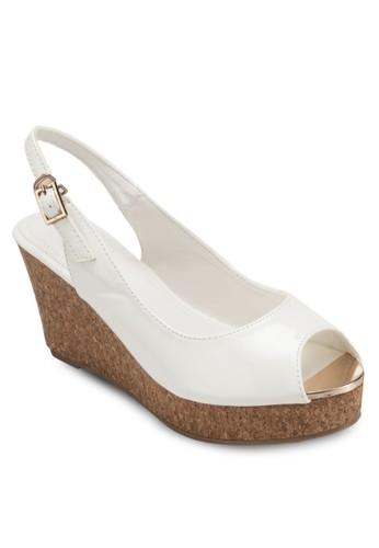 Deana 露趾繞踝zalora 泳衣木製楔形鞋, 女鞋, 魚口楔形鞋