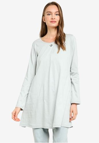Aqeela Muslimah Wear grey Button Box Pleat Top 2775FAA320114BGS_1