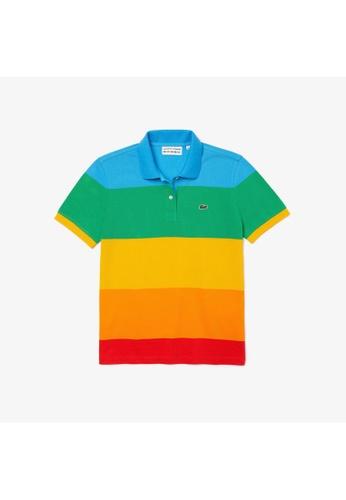 Lacoste multi Women's Polaroid Collaboration Colour Striped Regular Fit Polo Shirt 948D8AA2606399GS_1