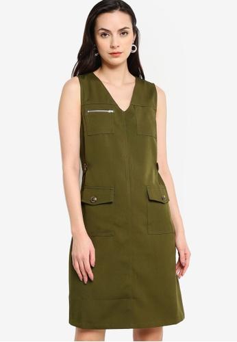 ZALORA WORK green Button Detail Dress D9550AA52AE2BEGS_1
