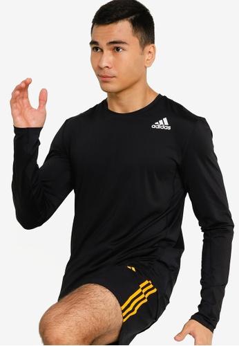 ADIDAS black techfit fitted long sleeve tee 63049AA9DB996BGS_1
