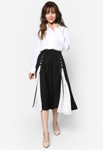 側繫帶雙色及膝短esprit tsim sha tsui裙, 服飾, 裙子