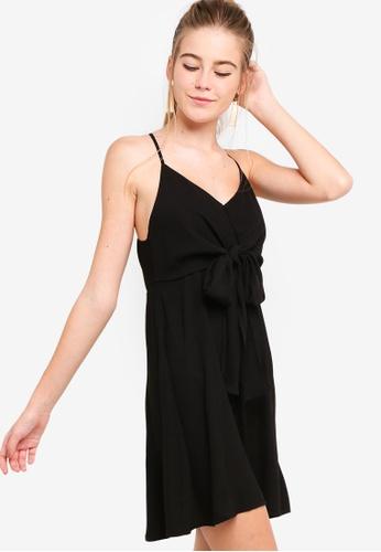 Something Borrowed black Front Tie Chiffon Swing Dress 11B48AA7808240GS_1