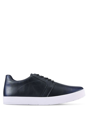 ZALORA blue Brushed Faux Leather Casual Sneakers 2F4ABSHDA8E3A6GS_1