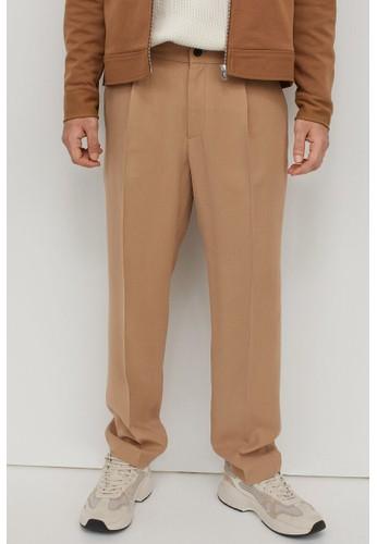 H&M beige Twill cigarette trousers 13AB7AA7F4F896GS_1