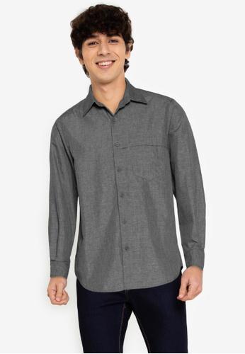 ZALORA BASICS grey Chest Strap Shirt A1413AA2B7ABEDGS_1
