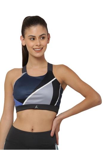 Fitleasure grey Fitleasure Geometric Print Grey Yoga Sports Bra 614AFUSB17F4BEGS_1