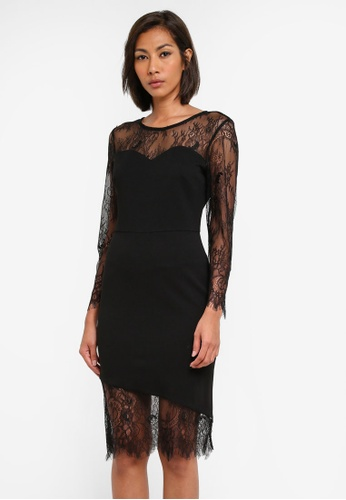 Dorothy Perkins black Asymmetric Lace Hem Bodycon Dress DO816AA0SB5ZMY_1