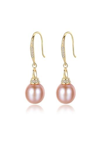 SUNRAIS gold Premium color stone gold simple design earrings 76545ACA71D30EGS_1