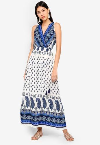ZALORA white and multi Overlap Maxi Dress 2409BAA49157FCGS_1