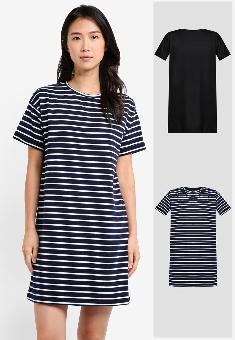 BASICS 2 amp; Stripe Black ZALORA Dress T Navy Essential Shirt White Pack r7gYHr