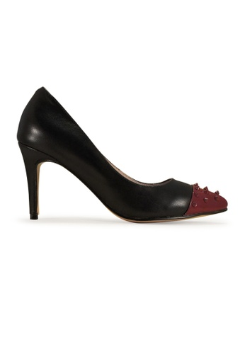 Gripz black Edina Pointed Maroon Spikie Heels GR357SH81PDQSG_1