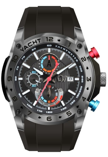 Christ Verra Collection Chronograph Men's Watch CV C 84266G-36 BLK/BLK Red Blue Black Rubber