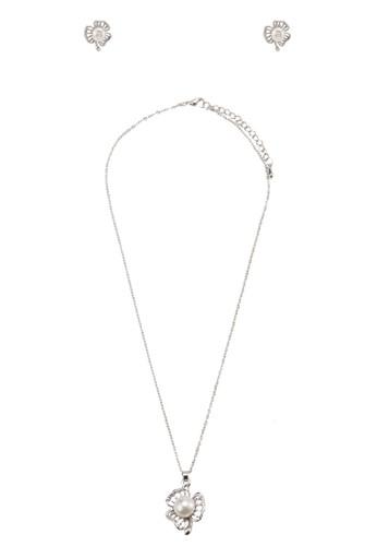 珍珠花卉吊esprit門市地址墜首飾組合, 飾品配件, 項鍊