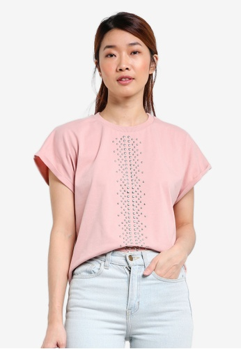 Something Borrowed pink Studded Drop Shoulder Tee 8C38BAAA775C6AGS_1