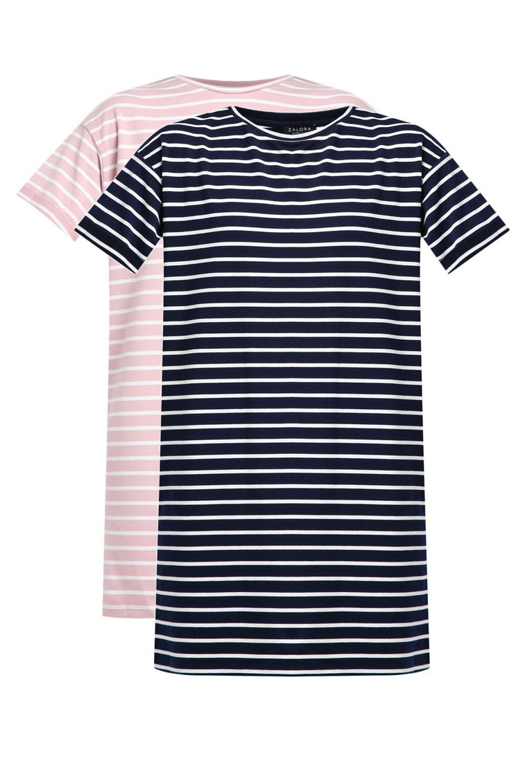White amp; ZALORA Navy Stripe 2 White BASICS T Pack Dress Essential Stripe Shirt Pink amp; gOxH4aqxw1