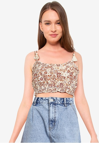 Cotton On brown Broderie Cropped Cami Top EAEA3AAFB19E73GS_1