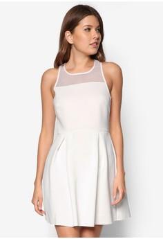 Love Mesh Yoke Fit& Flare Dress