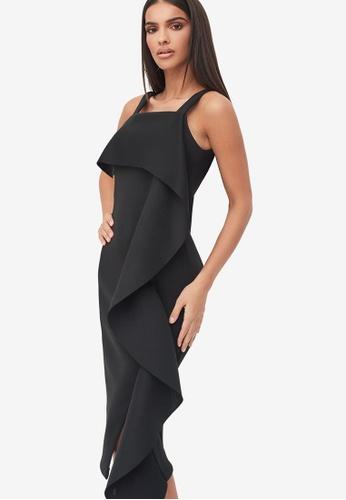 Lavish Alice black Square Neck Ruffle Scuba Dress C9EACAA4563092GS_1
