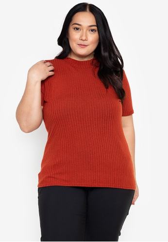 Curvy pink Plus Size Knitted Mock Neck Top 451A9AA2E9A9B4GS_1