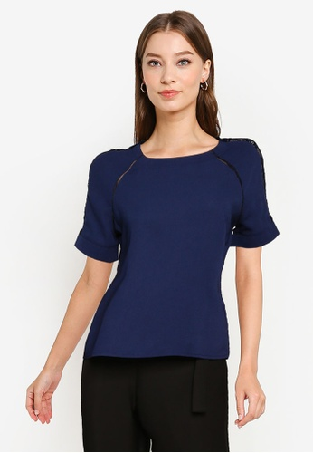 ZALORA WORK navy Lace Panelled Top 85681AAE5AE19FGS_1