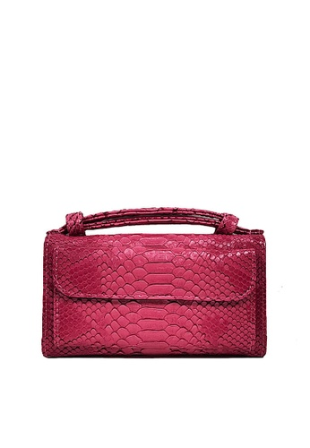 Twenty Eight Shoes pink VANSA Serpentine Pattern Embossed Cow Leather Bi-Fold Wallet VBW-Ps6021 61601ACE40DFC4GS_1