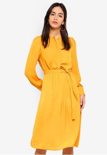 Vero Moda yellow Waist Belted Long Sleeve Dress 7FB89AAADEDF00GS_1