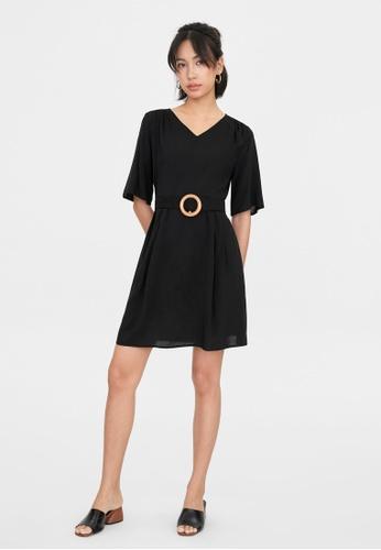 Pomelo black V Neck Round Belted Dress - Black C7B68AA2E9F01BGS_1