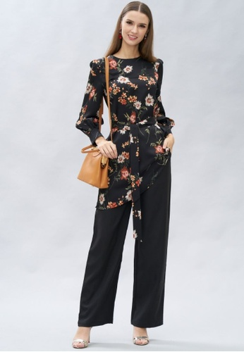 Loveaisyah multi Floral Long Sleeves Top and Black Pants Set E22A6AAFCCD971GS_1