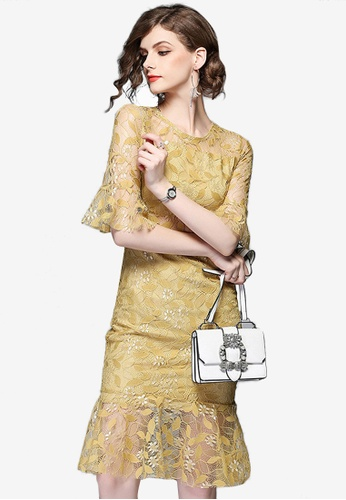 Sunnydaysweety yellow Floral Bodycon One Piece Dress D883FAA0CE4056GS_1