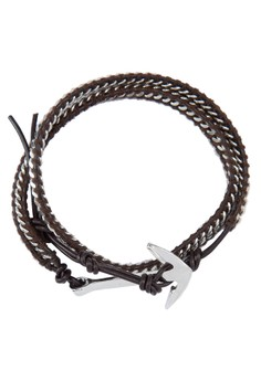 Men'S Double Tour Chain Wristband With Anchor