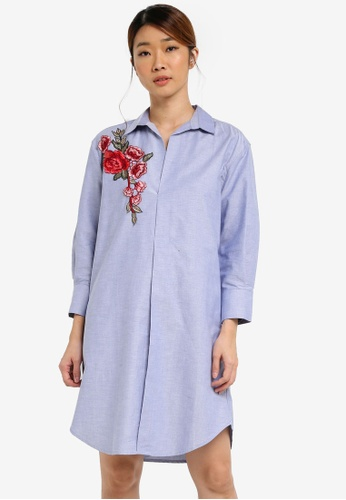 UniqTee blue Flora Embroidered Shirt Dress UN097AA0SHD8MY_1