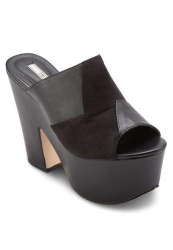 混合拼接esprit china厚底粗跟楔型鞋, 女鞋, 鞋