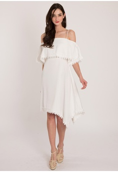 6c1675627d247 BEBEBUTTERFLY white Bebebutterfly Layer Cold Shoulder Dress  923C8AA650027CGS 1