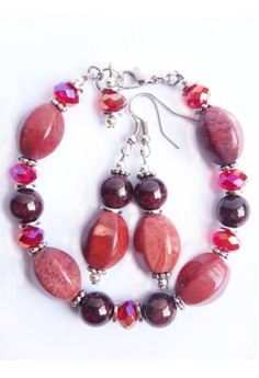 Sophistika Agate Garnet Semiprecious Stone Bead Braceletand Earrings Set