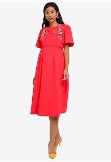 ... Embroidered Maternity And Nursing Dress