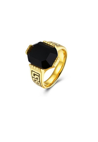 ADORA black Stainless Steel Gold Ring AD365AC2V1AQHK_1