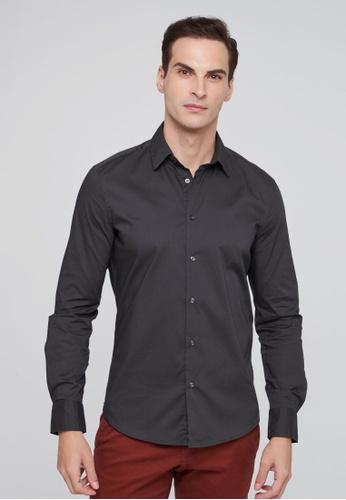 Sisley grey Slim Fit Shirt 826ADAAC953505GS_1