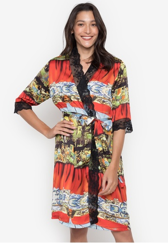Sleepyhead red Judy Printed Robe with Lace Detail CD748AABDC8717GS_1