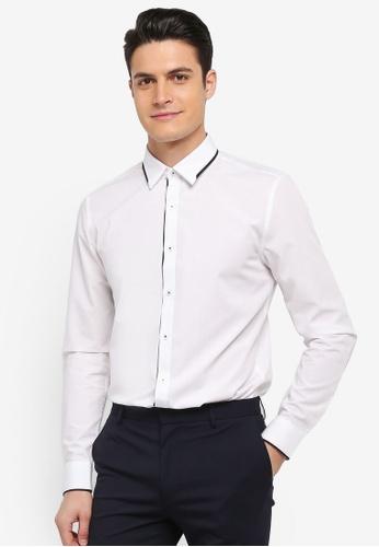 Topman white White And Black Trim Collar Shirt 465EBAA55072B9GS_1