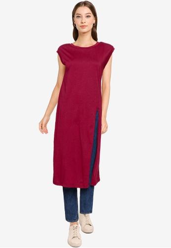 Heather red Woven Tee Dress C5ADDAA66919FFGS_1