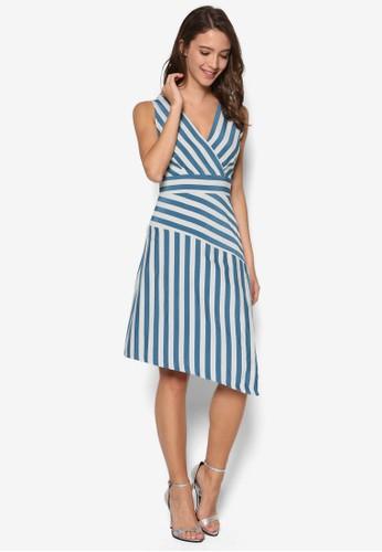 條紋V 領不對稱傘擺洋裝,esprit台灣門市 服飾, 洋裝