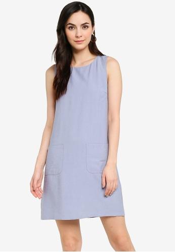 ZALORA WORK blue Textured Shift Dress D0AA9AA74EA9CEGS_1