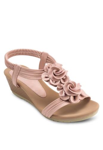 花飾踝帶zalora 泳衣楔形涼鞋, 女鞋, 楔形涼鞋