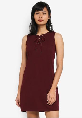 Something Borrowed red Lace Up Sleeveless Shift Dress E7208AA3752F96GS_1