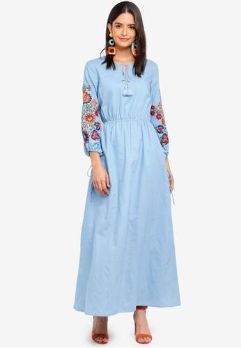 Zalia blue Embroidered Peasant Dress 4C8C5AA2FA3E66GS_1