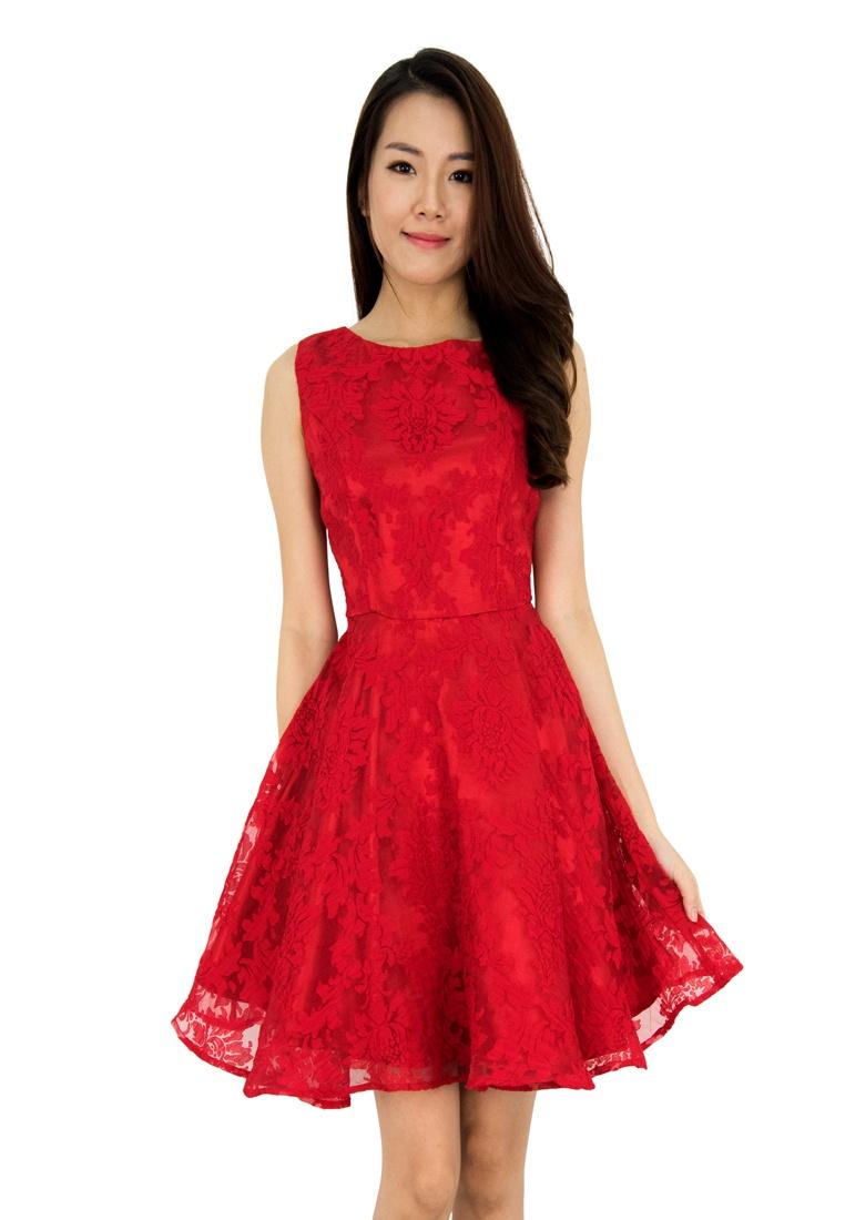 Dorothy Fit Flare Floral Red And Dress MOONRIVER SSwgUr