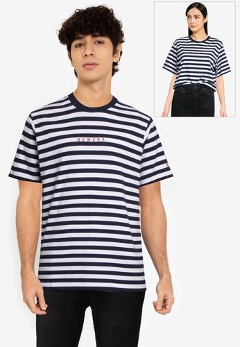 NEW ERA white Short Sleeve Basic Stripes Tee E36D6AAD9B7BAAGS_1